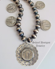 Schaef Designs standing liberty quarter & navajo pearl Sterling Silver Necklace | New Mexico
