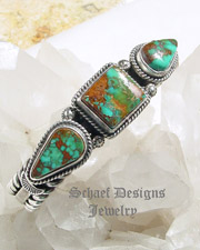 Sunshine Daniel Reeves Pilot Mountain turquoise & sterling silver bracelet|Schaef Designs | New Mexico