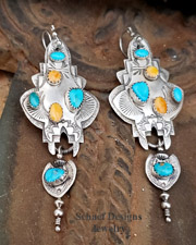 TA Orange Spiny Oyster Shell  Blue Turquoise, & Sterling Silver WIRE Earrings | New Mexico