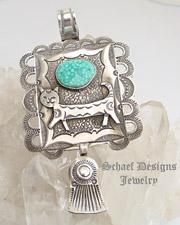 Art Tafoya Fred Harvey Style Cat Pendant with Birdseye Kingman Turquoise | Schaef Designs | New Mexico