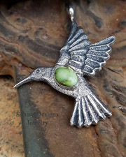 Gary Custer Tufa Cast Sterling Silver & Carico Lake Turquoise Hummingbird Pendant  | New Mexico
