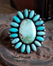 B. Johnson Carico Lake Turquoise & Sterling Silver Cluster Adjustable Ring | New Mexico
