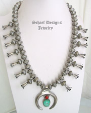 Mercury Dime, Turquoise, Coral & Sterling Silver Naja Squash Blossom Necklace | New Mexico