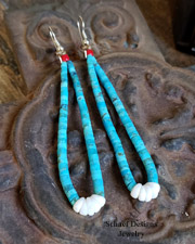 Schaef Designs Light blue turquoise & sterling silver jacla earrings | Southwestern turquoise jewelry | online upscale native American jewelry boutique gallery| Schaef Designs Southwestern turquoise Jewelry | New Mexico