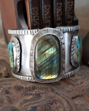 Schaef Designs Labradorite Turquoise & Sterling Silver Cuff Bracelet | New Mexico