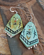 Native American Carved Turquoise & Sterling silver Maiden Earrings WIRE | New Mexico