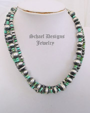 Turquoise & Multi size sterling silver Navajo Pearl 3 strand Southwestern necklace | New Mexico