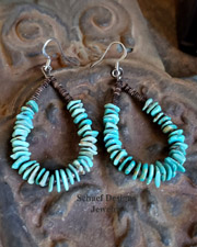 Native American Turquoise Pin Shell Hoop Earrings WIRES | Schaef Designs | New Mexico