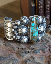 Chimney Butte Signed Turquoise & Sterling Silver Rosette Cuff Bracelet | New Mexico