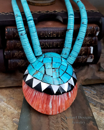 Native American Santa Domingo Turquoise & Spiny Oyster Shell Necklace Schaef Designs | New Mexico