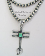 Signed Tufa Cast Dragonfly Heart Cross & Square Turquoise Pendant | New Mexico