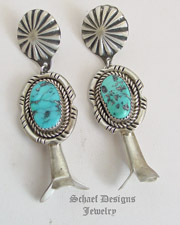 Schaef Designs Turquoise & Sterling Silver Squash Blossom POST Earrings | New Mexico
