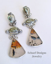 David Troutman Variscite Montana Agate & Sterling Silver CLIP Earrings | Schaef Designs | New Mexico