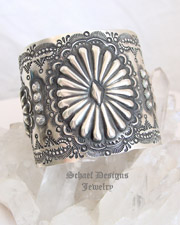 Vince Platero VJP Sterling Silver Stamped Repousse Cuff Bracelet | New Mexico