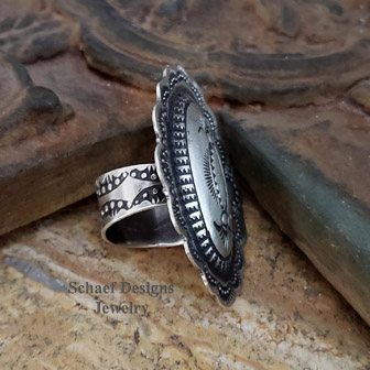 Vince Platero stamped sterling silver oval adjustable ring | Schaef Designs | Arizona