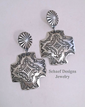 Vince Platero Stamped Sterling Silver Square Puffy Cross POST Earrings | New Mexico