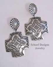 Vince Platero Hand Stamped Sterling Silver Square Cross POST Earrings | Schaef Designs | New Mexico