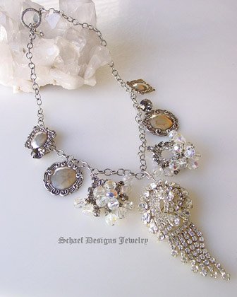 Antique Crystal, rhinestone & sterling silver charm Necklace  | online upscale Vintage Brooch & bridle Jewelry Boutique | Schaef Designs artisan handcrafted Vintage Brooch Jewelry | San Diego, CA