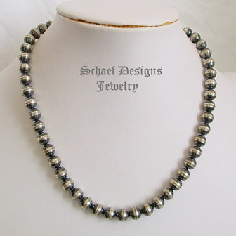Navajo Pearls,Navajo sterling Silver beads Necklace-antique look-10 mm round