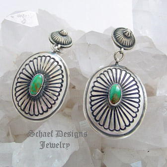 dd557b9ed Native American artist signed hallmark DM vintage sterling silver & turquoise  concho post earrings   Schaef ...