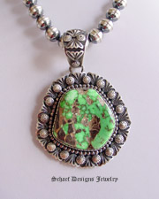 Turquoise jewelry schaef designs new mexico specimen large green carico lake sterling silver artist signed d livingston native american pendant aloadofball Image collections
